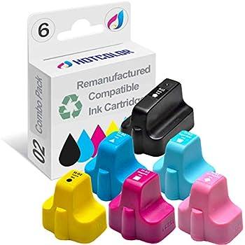 HOTCOLOR 02XL 02 Ink Cartridge for HP Photosmart 3108 3110 3210 3210-xi 3310 8230 8250 C5100 C5140 C5150 C5180 Printer   Black,Cyan,Magenta,Yellow,Light Cyan,Light Magenta 6-Pack