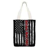 Drag Racing American Flag 大再利用可能なキャンバストートバッグカジュアルショルダー女の子用ハンドバッグ