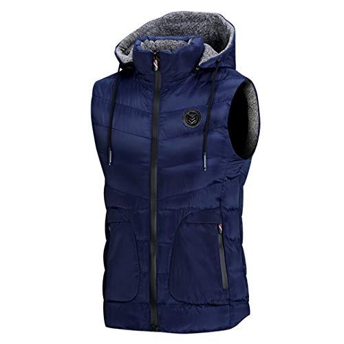 Hommes Solides Veste sans Manches d'hiver Zipper Poches Gilet Tops Gilet Casual Blue M