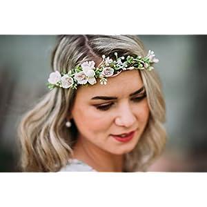 10-14 Blumenkranz Blüten Haarschmuck Braut Hochzeit Feldblumen Boho Vintage Diadem Brautkleid Perlen flowers in the hair