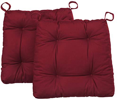 Traumnacht Stuhlkissen Premium 2er Set, mit einem Baumwollbezug, 38 x 40 x 7 cm, rot