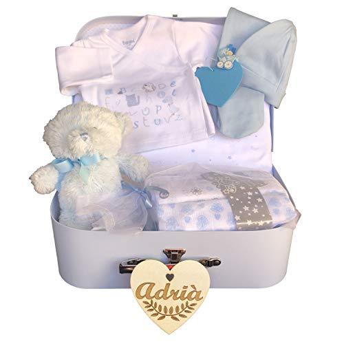 Canastilla bebé recién nacido niño modelo Abecedario, con corazón personalizado de regalo,...