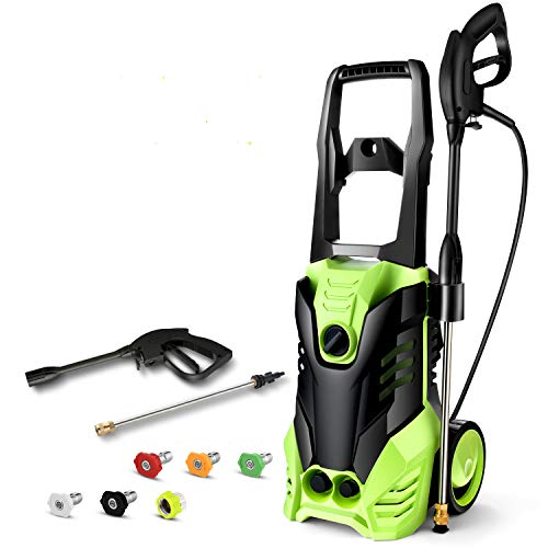 Homdox 2950 PSI Electric Pressure Washer 1800W High Pressure Power Washer Machine with Power Hose Gun Turbo Wand 5 Interchangeable Nozzles (Green)