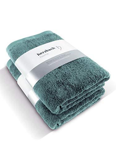 herzbach home Handtuch 2er Set Premium Qualität aus 100% ägyptischer Baumwolle 50 x 100 cm 600 g/m² (Ozeangrün)