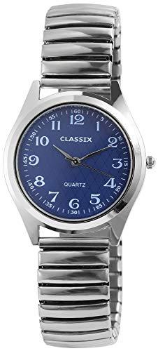 CLASSIX Herrenuhr Blau Silber Analog Metall Zugarmband Quarz Armbanduhr