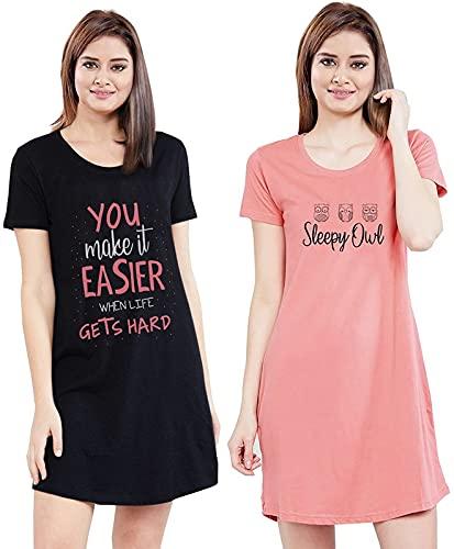 XOYA Printed Short Night Dress for Women/Cotton Nighty - Black & Peach 2 Pc Combo - L