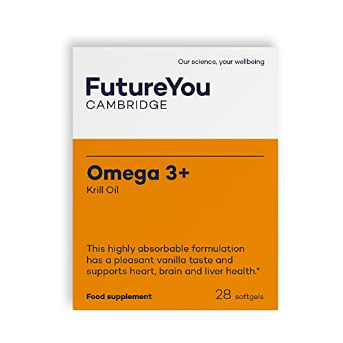 Omega-3+ Krill Oil 1,180mg - Easy-to-Absorb EPA, DHA, Choline & Astaxanthin - Vanilla Flavoured - Sustainably Sourced - 28 Day Supply - Developed by FutureYou Cambridge, UK