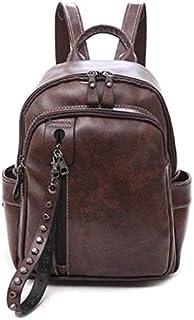 TOOGOO Korean Version Of the Sen Retro College Wind College Student Bag Soft Leather Wild Travel Backpack Black