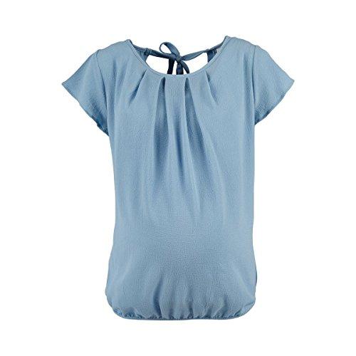 2HEARTS Umstands-Bluse Mermaid We Love Basics - Schwangerschaftsbluse mit Rundhalsausschnitt - Nacken mit V-Ausschnitt & Bindebändern - Dusty Blue