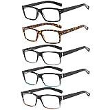 Suertree 5 Pairs Reading Glasses,Eyeglasses,Quality Readers Spring Hinge Glasses for Reading for Men and Women 2.0X