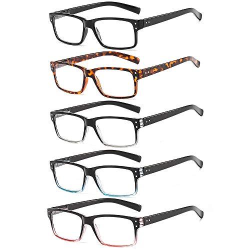 Suertree Lesebrille 5 Pack Brillen Scharnier Lesebrillen Sehhilfe Augenoptik Brille Lesehilfe für Damen Herren 1.5x