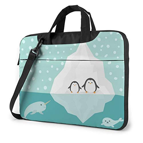 Penguin, Narwhal and Seal Laptop Shoulder Messenger Bag,Laptop Shoulder Bag Carrying Case with Handle Laptop Case Laptop Briefcase 15.6 Inch Fits 14 15 15.6 inch Netbook/Laptop