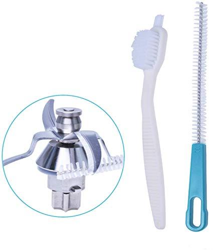 Poweka - Cepillo de limpieza Vorwerk Thermomix Tm6 Tm5 Tm31 Tm21 para robot de cocina para cuchillos, juego de 2 cepillos para tarros de limpieza, cuencos para mezclar y cuchillas