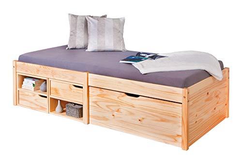 Inter Link Bett Kinderbett Jugendbett Bett Einzelbett Stauraumbett mit Schublade FSC Kiefer massivholz Natur lackiert