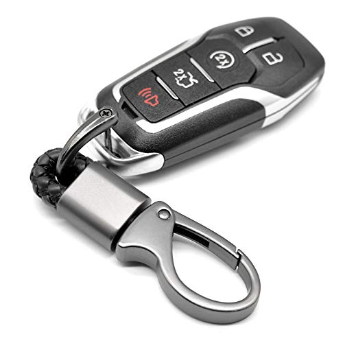 EYANBIS Car Key Fob Keychains Leather Holder Key Chain Sturdy Metal with D-Ring for Men and Women 2 Pack, Black, 360 Degree Rotatable, with Screwdriver