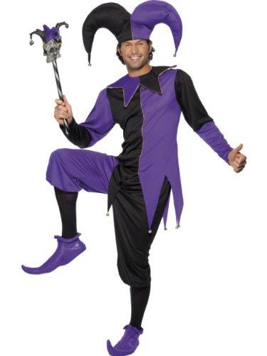 Smiffys Costume de bouffon médiéval, haut avec col intégré, pantalon et chapeau - NOIR et VIOLET - TAILLE M