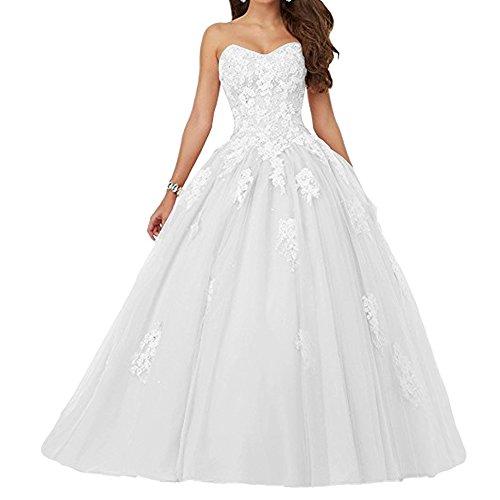 JAEDEN Damen Quinceanera Kleider mit Spitze Abendkleider Lang Hochzeitskleider Elegant Ballkleid Weiß EUR34