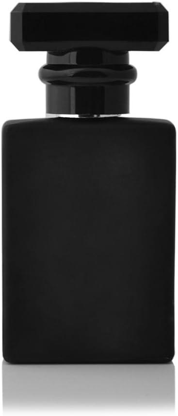 Enslz 30ML Portable Transparent Glass Perfume Empty Bottle Refillable Atomizer With Aluminum Cosmetic Case For Travel (black)