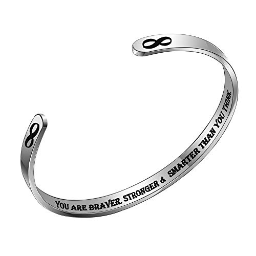 ACAROMAY Inspirational Cuff Bracelets Encourage Bangles Women Men Personalised Birthday Christmas Graduation Gifts (You are braver, stronger & smarter than you think)