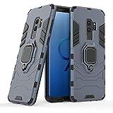 COOVY® Funda para Samsung Galaxy S9 + Plus SM-G965F / SM-G965F/DS de plástico y Silicona TPU, extrafuerte, Anti Choque, Funda con función Atril + Soporte magnético   Azul Marino