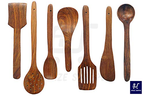 Amaze Shoppee Wooden Spoon Set of 7 | 2 Frying, 1 Serving, 1 Spatula, 1 Chapati Spoon, 1 Desert, 1 Rice