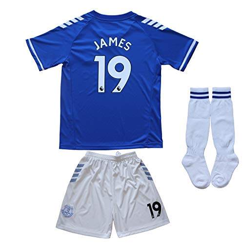 BIRD BOX 2020/2021 Ever Home #19 James Rodriguez Home Blue Soccer Kids Jersey Shorts Socks Set Youth Sizes (Blue, 24 (6-7 Years))