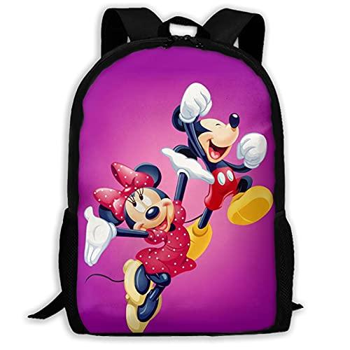 Mochila de ratón de dibujos animados de Mickey Minnie unisex de poliéster, mochila casual de viaje