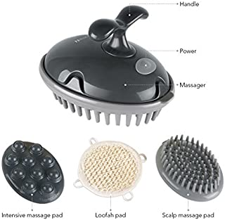 MARNUR Scalp Massager Shampoo Brush Electric Massage Battery Operated with Vibration Massage for Head Hair Shoulder Foot Back with 3 Interchangeable Attachments