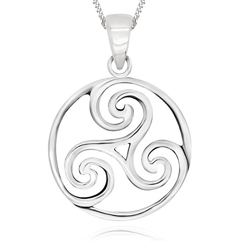 925 Sterling Silver Triple Spiral Celtic Round Pendant Necklace, 18'