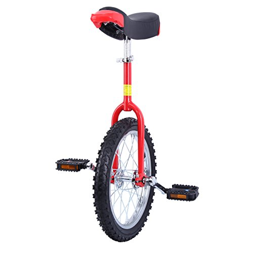 Paneltech 16' / 20' Kid's / Adult's Trainer Unicycle Height Adjustable Skidproof Butyl Mountain Tire Balance Cycling Exercise Bike Bicycle (16')