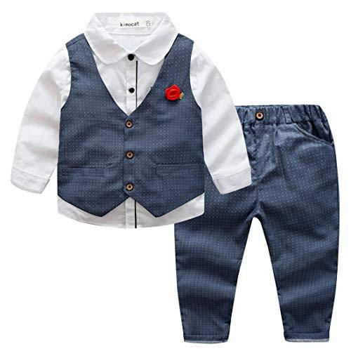 Happy Cherry Babyanzug Baby Taufanzug Jungen Hemd Hose Anzug Festlich Kinderanzug Hochzeit Anzug Frühling Herbst Bekleidung Set Grau-100cm