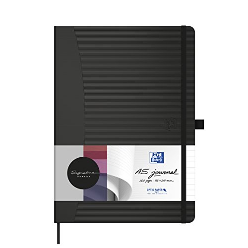 Oxford Notizbuch Signature A5 punktkariert 96 Blatt 90 g/m² schwarz mit gummierter Oberfläche SCRIBZEE kompatibel für Büro Schule oder als Geschenk