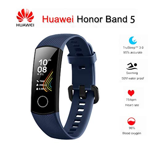 Huawei Honor Band 5 0.95' Full Touch AMOLED Color Screen Smart Bracelet Heart Rate Monitor Sleep Monitor Blood Oxygen Monitor Home Button All-in-One Activity Tracker GPS 5ATM Waterproof (Dark Blue)