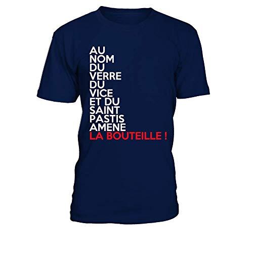TEEZILY T-Shirt Homme Au Nom du Verre du Vice Et du Saint Pastis Amene La Bouteille - Bleu Marine - L