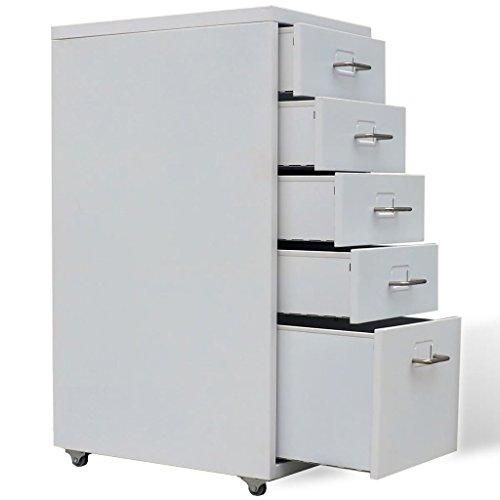 Vislone Rollcontainer Schublade Stahl Aktenschränke Bürocontainer mit 5 Schubladen und Hängeregistratur