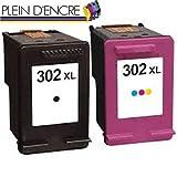 Pack 2 cartouches d'encre N° 302 XL/Grande capacité/Noir et Couleur pour imprimante...