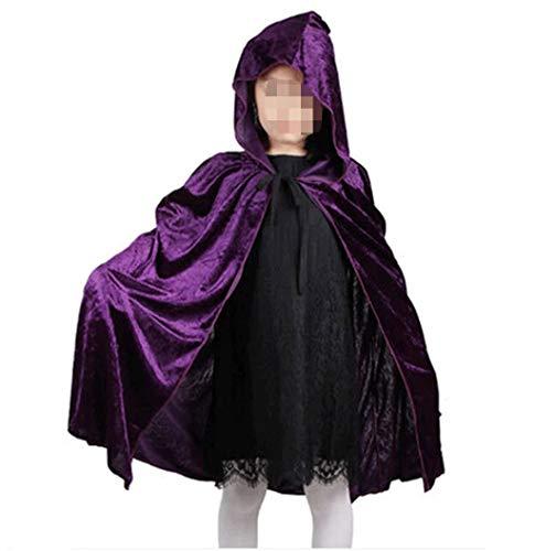 Fashion SHOP Capucha Red Black Hood Girl Boy Death Cloak Magician Witch Wizard Capa Cabo Toma Infantil Disfraz de Halloween para niños Niños Largo Capa con Capucha ( Color : Purple )