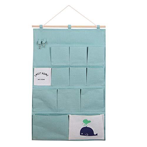 12 Fächer Hängende Aufbewahrungstasche, Hängetasche mit 2 Haken Wand organizer Aufbewahrung Tasche für Bad, Kinder, Tür, Wand Stoff Utensilo Baby, Wand Organizer