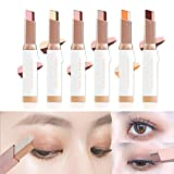 SITAILI Sombra de Ojos de Doble Color de 6 Piezas 12 Colores, lápiz de Sombra de Ojos Resistente al Agua con Purpurina y gradiente de Maquillaje