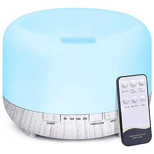 Essential Oil Diffuser, 500ml Diffusers for Essential Oils, Remote Control Ultrasonic Aromatherapy Humidifier for Home / Spa / Yoga