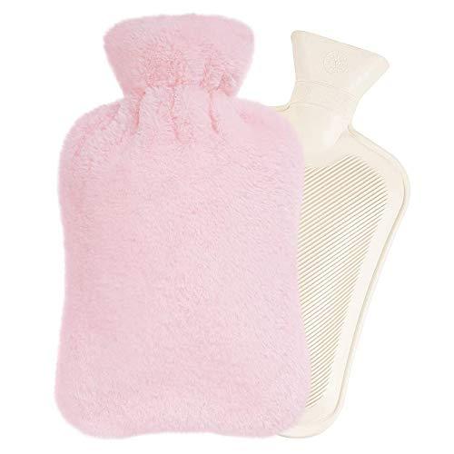Remebe Juego de calentador de botellas de agua caliente de goma de 1,8 litros, funda de felpa extraible, ideal para calentar y enfriar (Pink)