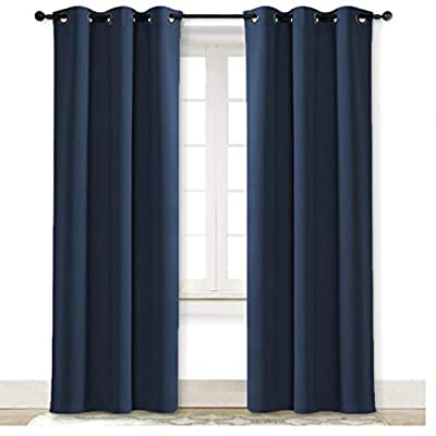 NICETOWN Living Room Curtain, Window Treatment Energy Saving Thermal Insulated Solid Grommet Blackout Drape/Drapery (Navy, Sold Individually, 42 by 84-inch)