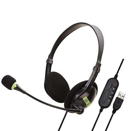 JJSCHMRC Auriculares USB de 3,5 mm con micrófono Cancelación de ruido y control de volumen, auriculares con cable para aula, hogar u oficina