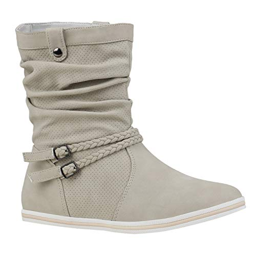 Bequeme Damen Stiefel Flache Schlupfstiefel Boots 151491 Creme Amares 40 Flandell