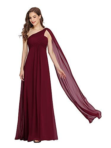Ever-Pretty Vestito da Damigella Donna Monospalla Linea ad A Chiffon Stile Impero con Cinghia Borgogna 36