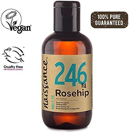 Naissance Aceite Vegetal de Rosa Mosqueta Rubiginosa n. º 246 – 100ml - Puro, natural, vegano, sin hexano y no OGM - Hidrata y nutre todo tipo de pieles, el cabello y las uñas.