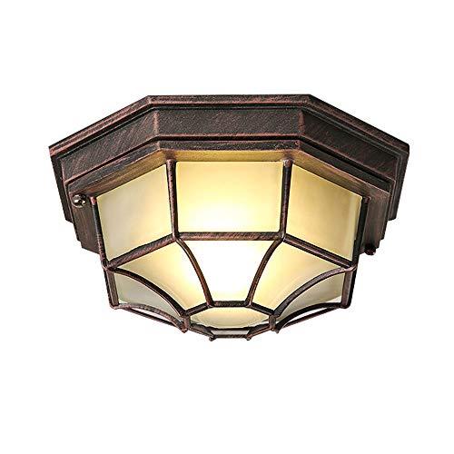 Rustikal Industrie Deckenleuchten Retro E27 Fassung Aluminium Deckenlampen Glas Lampenschirm Achteck Design Industrielampe Pavillon Balkon Eingang Loft Decken Lampen