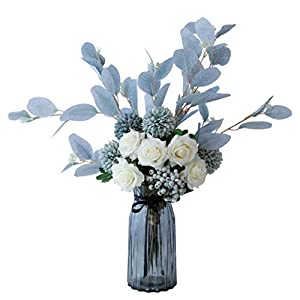 FABAX Fake Flower Artificial Flowers, Silk Fake Flowers with Glass Vase for Wedding Bouquets, Table Centrepiece, Home Garden Party Wedding Decoration Home Artificial Flowers