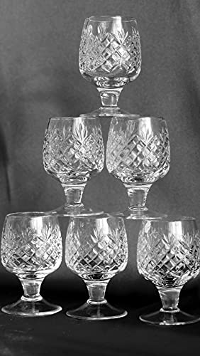 Set of 6 Hand Made Vintage Russian Cut Crystal Shot Glasses on Short Stem 50ml Old-fashioned Glassware, 1.7-Oz, Height: 3.15 in
