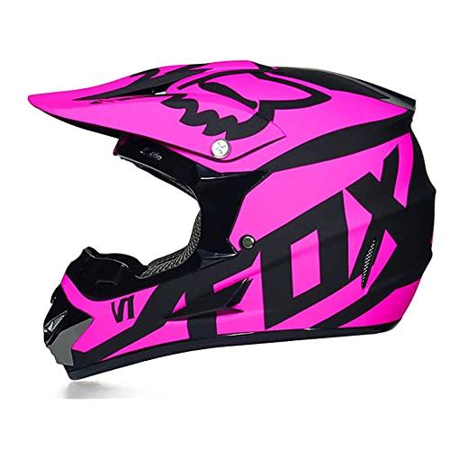 LSLVKEN Casco de Motocicleta, Conjunto de Casco de Motocross Todo Terreno MTB MX de Integrales para Niños y Adultos (Gafas + Máscara + Guantes) con Diseño Fox - Certificación Dot & ECE,Rojo,S
